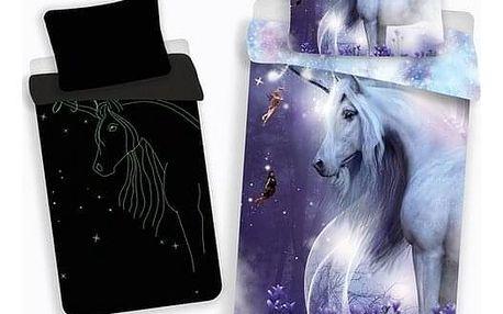 Jerry Fabrics Povlečení Unicorn svítící efekt, 140x200 cm, 70x90 cm