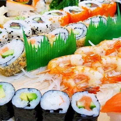 46 kousků sushi: tuňák, losos, špízy z krevet