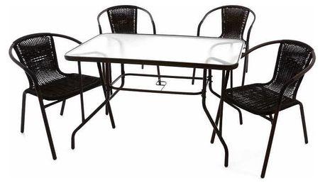 Garthen 37023 Zahradní polyratanový set - 4 židle a skleněný stůl