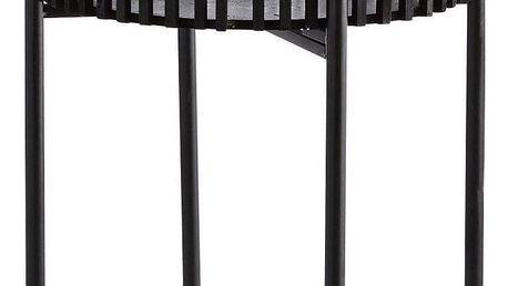 MADAM STOLTZ Bambusový obal na květináč se stojanem Black, černá barva, dřevo, kov