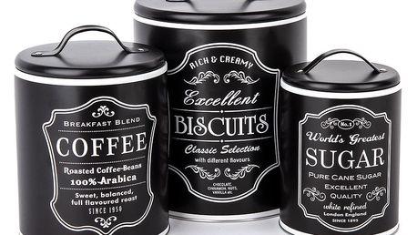 Koopman Sada dóz na kávu, sušenky a cukr, černá