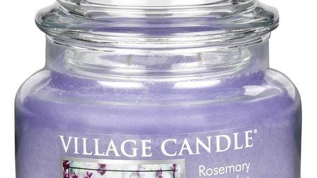 VILLAGE CANDLE Svíčka ve skle Rosemary Lavender - malá, fialová barva, sklo
