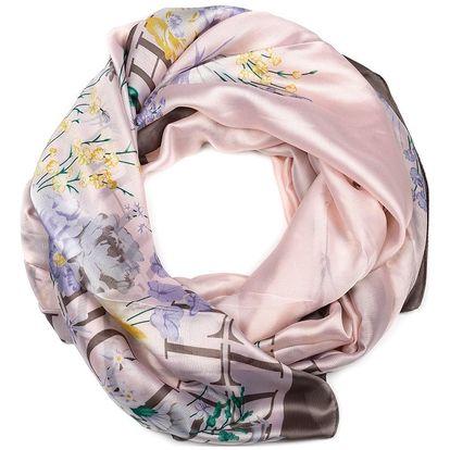 Delfin Hedvábný šátek Elegance de Pure - Jarní květ