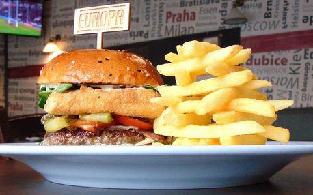 Burgery Evropa s hovězím masem i smaženým sýrem