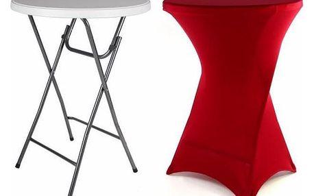 Garthen BISTRO 41003 Párty stolek skládací vč. elastického potahu 80 x 80 x 110 cm