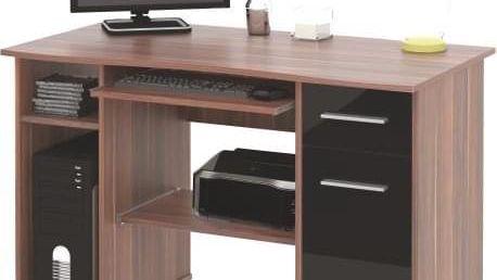 PC stůl SAMUEL švestka / černá