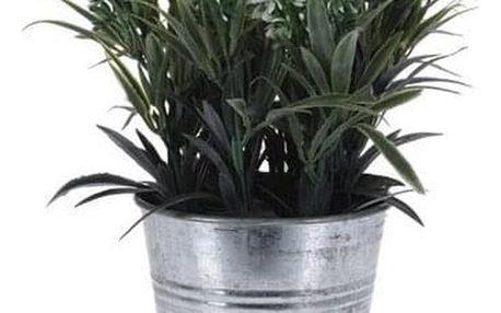 Umělá květina v plechovém květináči bílá, 22 cm