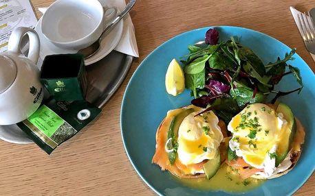Káva a vejce Benedikt s lososem a avokádem