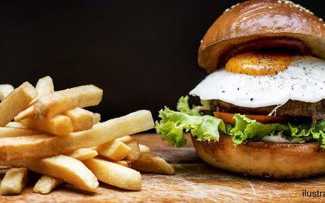 Burger s vajíčkem a domácí hranolky pro jednoho