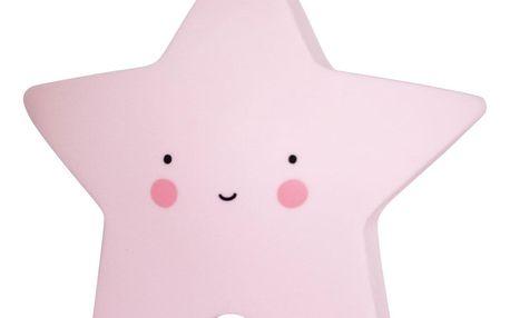 A Little Lovely Company Noční LED lampička Pink star, růžová barva, plast