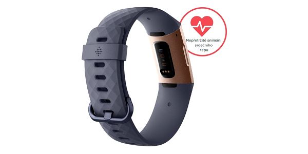 Fitness náramek Fitbit Charge 3 - Rose Gold, Blue Grey (FB409RGGY-EU)4