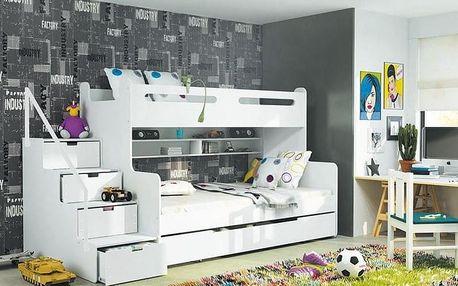 Patrová postel MAX 3 120x200 cm, bílá/bílá