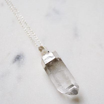 DECADORN Řetízek s přívěskem Raw Point Quartz/Silver, stříbrná barva, čirá barva, kov, kámen