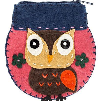 Fashion Icon Peněženka flísová Owl ruční práce kulatá