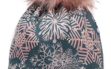 Růžová čepice Perfect s vločkami a růžovou bambulí C