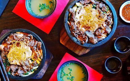 3chodové japonsko-korejské menu s nudlemi udon
