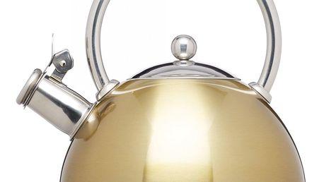 Kitchen Craft Nerezová konvice Whistling Kettle 1,8 l, zlatá barva, stříbrná barva, kov