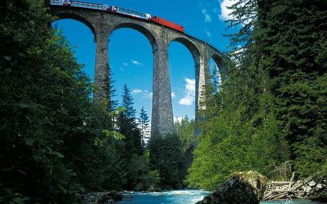 Švýcarsko - alpská železnice Bernina Express - Itálie - 4 dny poznání se snídaní