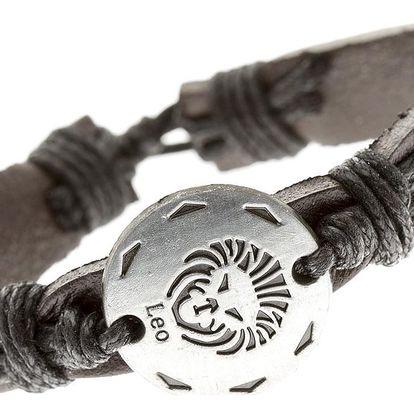 Fashion Icon Náramek UNISEX kožený s uzly ve znamení zvěrokruhu - LEV