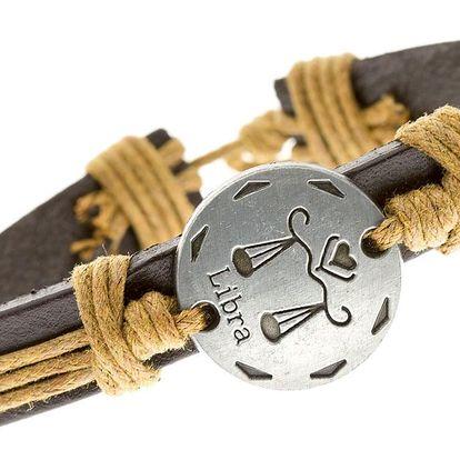 Fashion Icon Náramek UNISEX kožený s uzly ve znamení zvěrokruhu - VÁHY