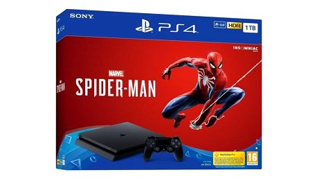Herní konzole Sony PlayStation 4 1TB + hra Spider-Man černý (PS719733218)