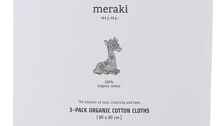 meraki Plenky z biobavlny Meraki Mini - set 3 ks, šedá barva, textil