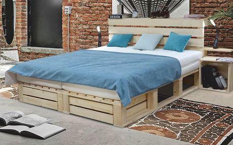 Manželská postel INDUSTRY 180/160 x 200 cm vč. roštu 180x200 smrk