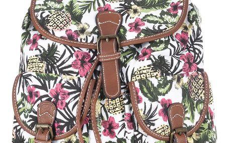 Batoh Tropikana textilní A4 Backpack ekokůže