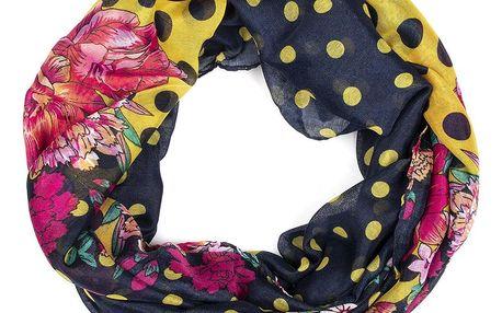 Delfin Dámská barevná šála-tunel Puntíky a květy