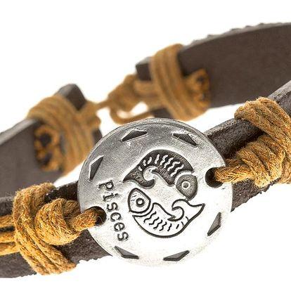 Fashion Icon Náramek UNISEX kožený s uzly ve znamení zvěrokruhu - RYBY