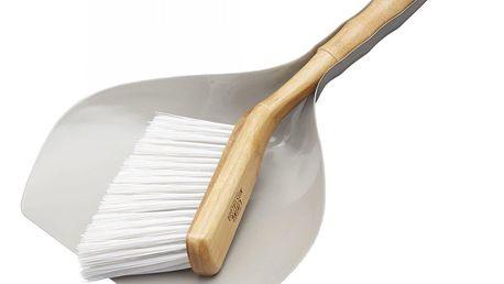 Kitchen Craft Smetáček s lopatkou New Nostalgia, šedá barva, bílá barva, přírodní barva, dřevo, kov, plast