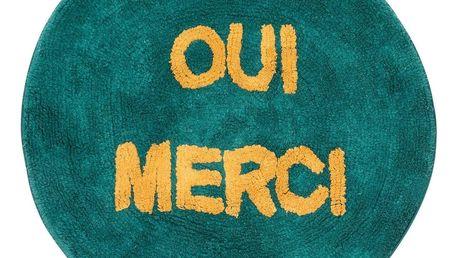 rice Kulatý kobereček Jade Oui Merci ⌀ 75 cm, zelená barva, textil