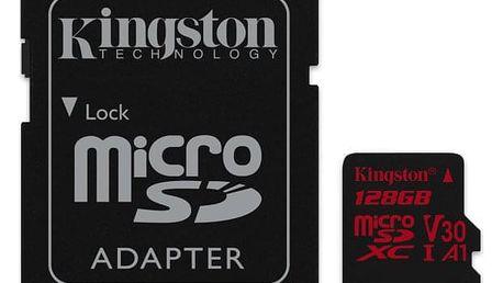 Paměťová karta Kingston Canvas React microSDXC 128GB UHS-I U3 (100R/80W) + adaptér (SDCR/128GB)