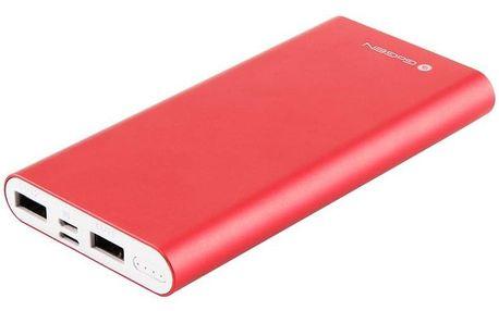 GoGEN 10000 mAh, vstup mikro USB 5V/2A, vstup Lightning 5V/1A, výstup USB1 5V/1A, USB2 5V/2,1A červená (PB100004RW)