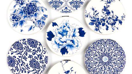 Kapesní kosmetické zrcátko Modré kytky