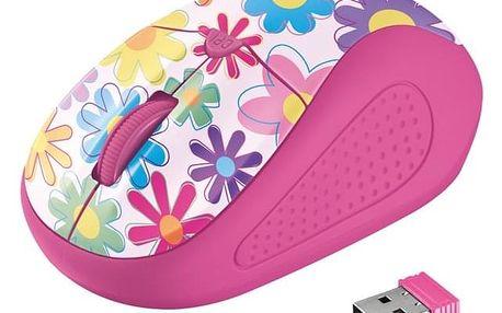 Myš Trust Primo Wireless - pink flowers (/ optická / 4 tlačítka / 1600dpi) (21481)