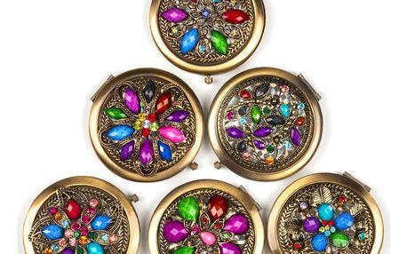 Kapesní kosmetické zrcátko Retro s kamínky bronzové