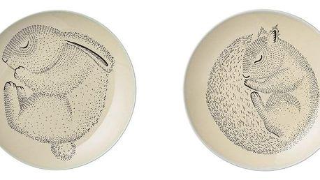 Bloomingville Keramický talířek Adelynn Animals - 2 druhy Králík, béžová barva, keramika