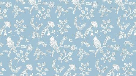 IB LAURSEN Dárkový balící papír Blue Bird 10 m, modrá barva, bílá barva, papír