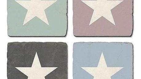 La finesse Kamenné podložky pod Hrnky Star - set 4 ks, růžová barva, modrá barva, šedá barva, hnědá barva, kámen
