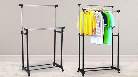 Dvojitý nastavitelný stojan na oblečení