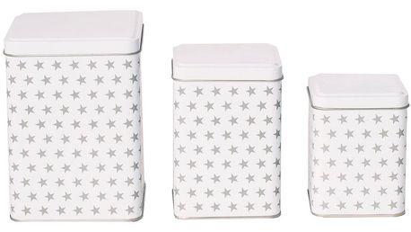 Blossom Plechové dózy Stars White - set 3 ks, bílá barva, kov