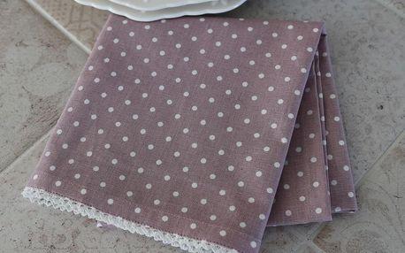 Chic Antique Kuchyňská utěrka Dots and Old Rose, růžová barva, bílá barva, textil