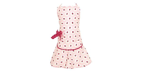 GREEN GATE Dětská kuchyňská zástěra Strawberry pale pink, růžová barva, textil