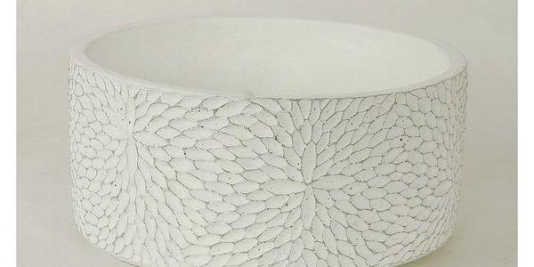 Autronic BCO759698 Betonový obal na květináč Flower bílá, 22 cm