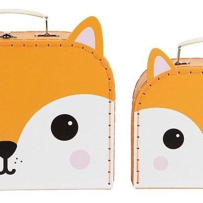 sass & belle Kufřík Fox - 2 velikosti Větší, oranžová barva, papír