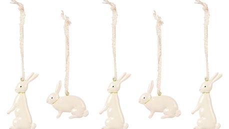 Maileg Kovová velikonoční dekorace Bunnies - sada 5ks, bílá barva, kov