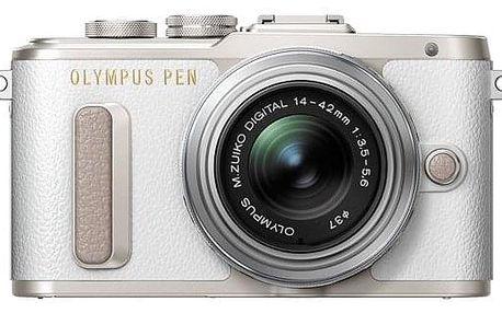 Digitální fotoaparát Olympus PEN E-PL8 + 14-42 EZ Pancake stříbrný/bílý