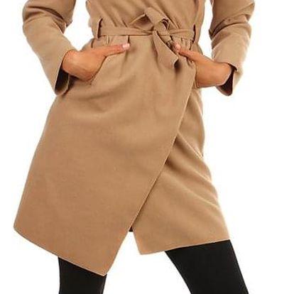 Zavinovací dámský kabát s páskem světle hnědá