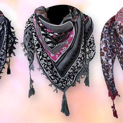 Lehký šátek se střapci: 7 barevných kombinací